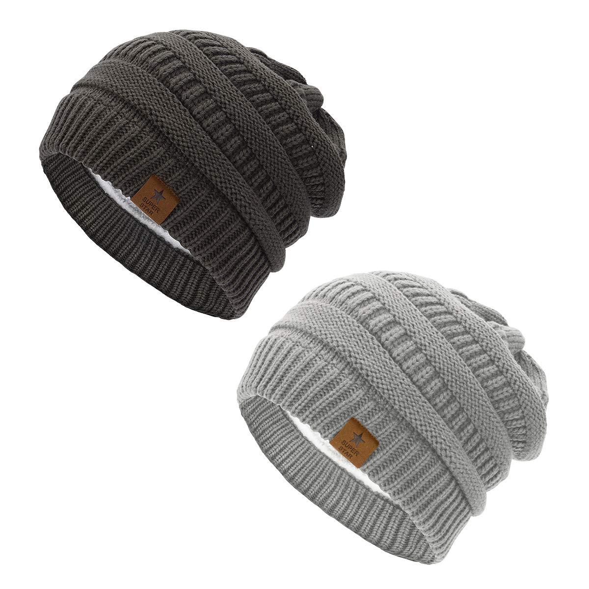 B 2 Pack Dark Grey & Light Grey Durio Winter Warm Thermal Wool Thick Socks Knitting Printed Crew MidCalf Socks for Women Girls
