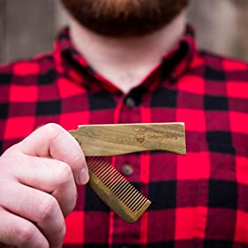 Folding Wooden Comb by Striking Viking - Men's Hair, Beard, and Mustache Styling Comb with Carry Case Gift Box - Pocket Sized, Durable, Anti-Static Sandalwood Comb for Every Day Grooming