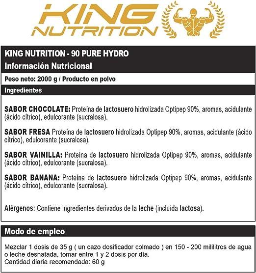 90 PURE HYDRO 2Kg Fresa KING NUTRITION Proteina hidrolizada Optipep®