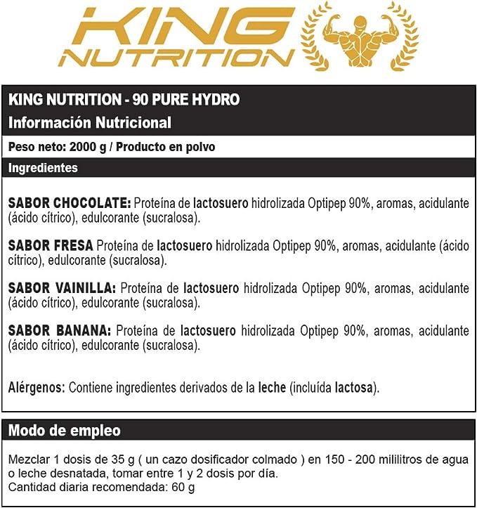 90 PURE HYDRO 2Kg Fresa KING NUTRITION Proteina ...