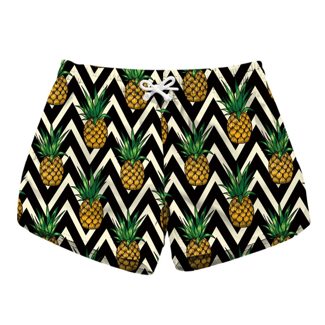 ACVIP Women's Dacron Summer Pineapple Tropical Vacation Travel Beach Shorts (pineapple2,US12-14)