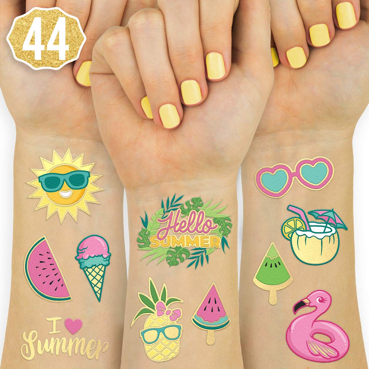 xo, Fetti Summer Pool Party Temporary Tattoos for Kids - Glitter styles | Birthday Party Supplies, Beach Party Favors + Tropical Decor