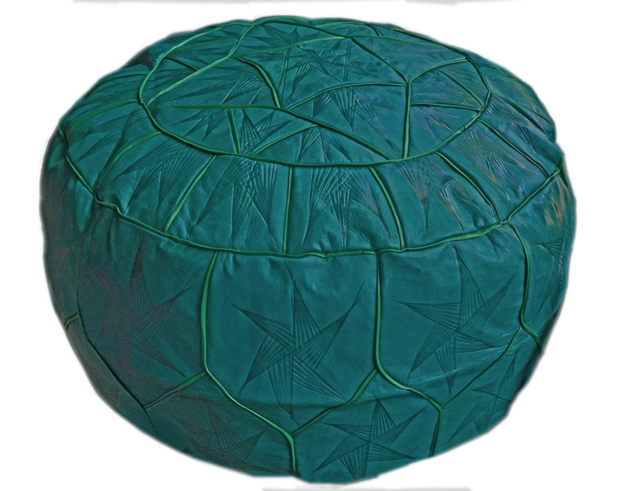 Egyptian Morrocan Handmade Genuine Leather Ottoman Pouf Xl (Teal / Green)