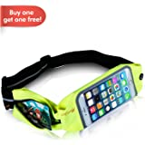 Causalyg Reflective Running Belt Waist Pack-Fanny Pack Phone Holder For iPhone 6, 7, X, 8, 8 Plus & Samsung, Android Phone, Super Comfortable Waterproof Dual Pockets Fittness Belt
