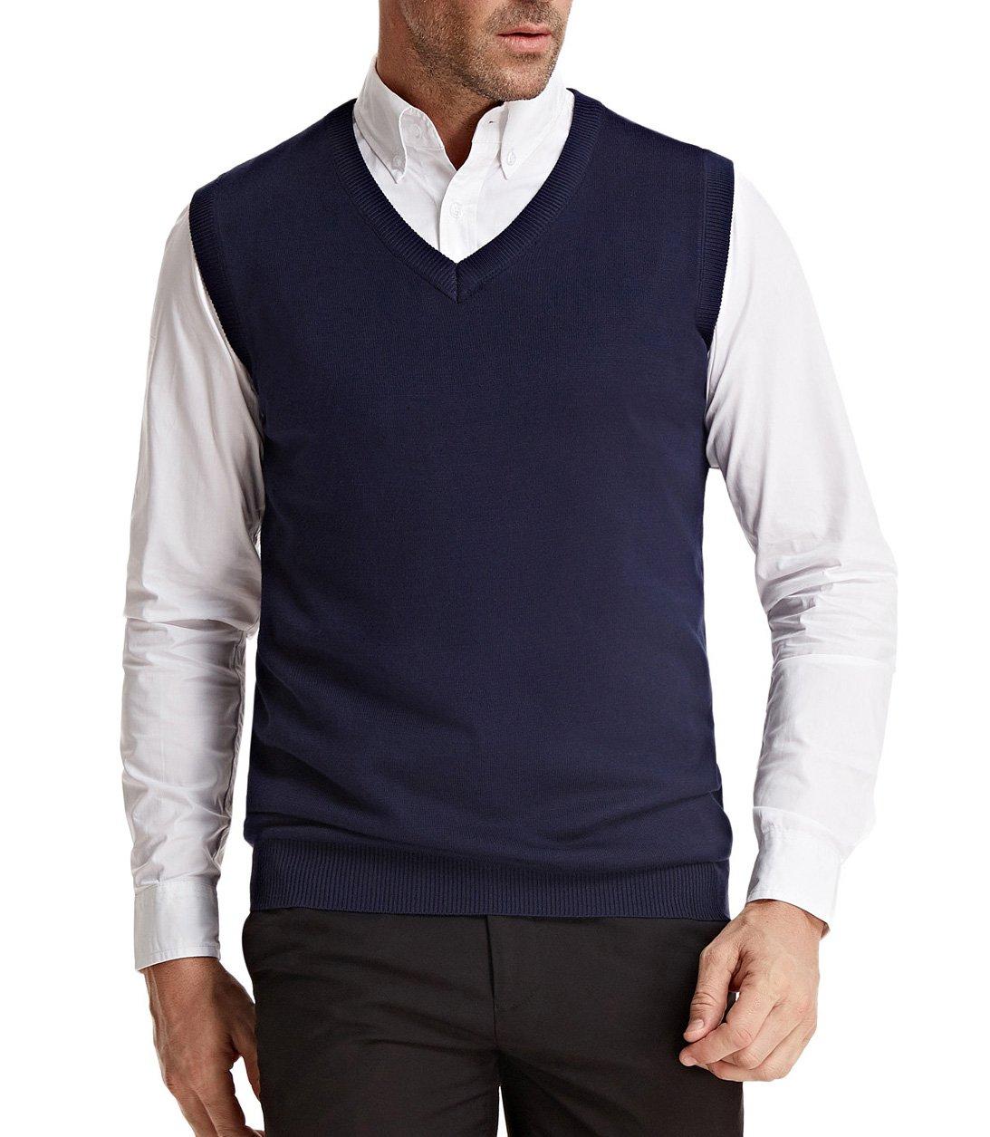 PAUL JONES Men's Cotton Basic Knitted Vest Business Look Big&Tall Size XXL Navy Blue