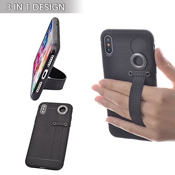 sports shoes af833 c61a5 TFY 3 in 1 Design, Case Cover + Stand + Hand Strap Holder for iPhone X,  Black