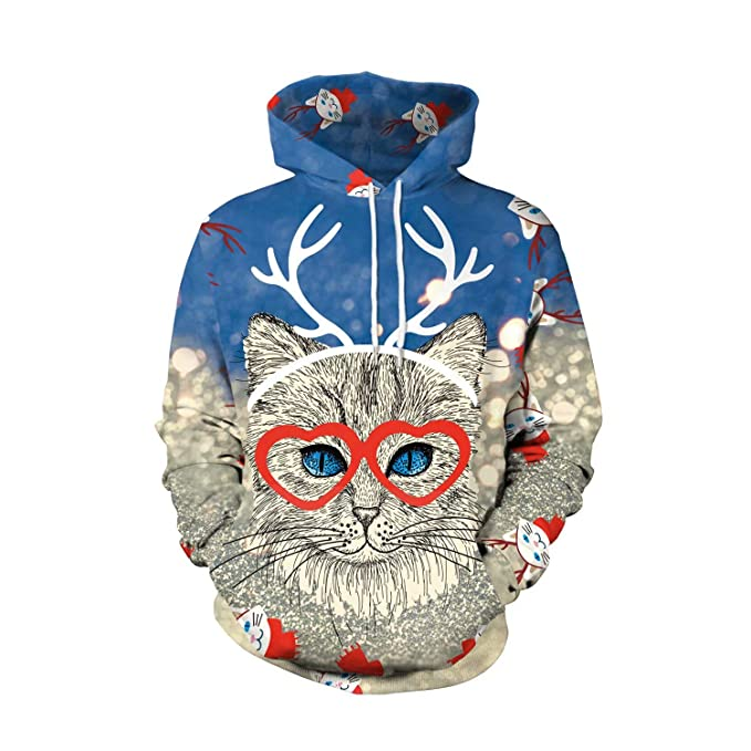 Unisex Hoodie Cat Christmas Sweaters Women & Men Pullover with Pockets