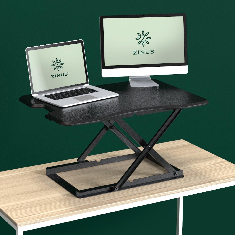 "Zinus Tina Smart Adjust Standing Desk / Adjustable Height Desktop Workstation / 32"" x 22"" / Black"