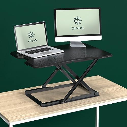 Zinus Tina Smart Adjust Standing Desk Adjustable Height Desktop Workstation 32 x 22 Black
