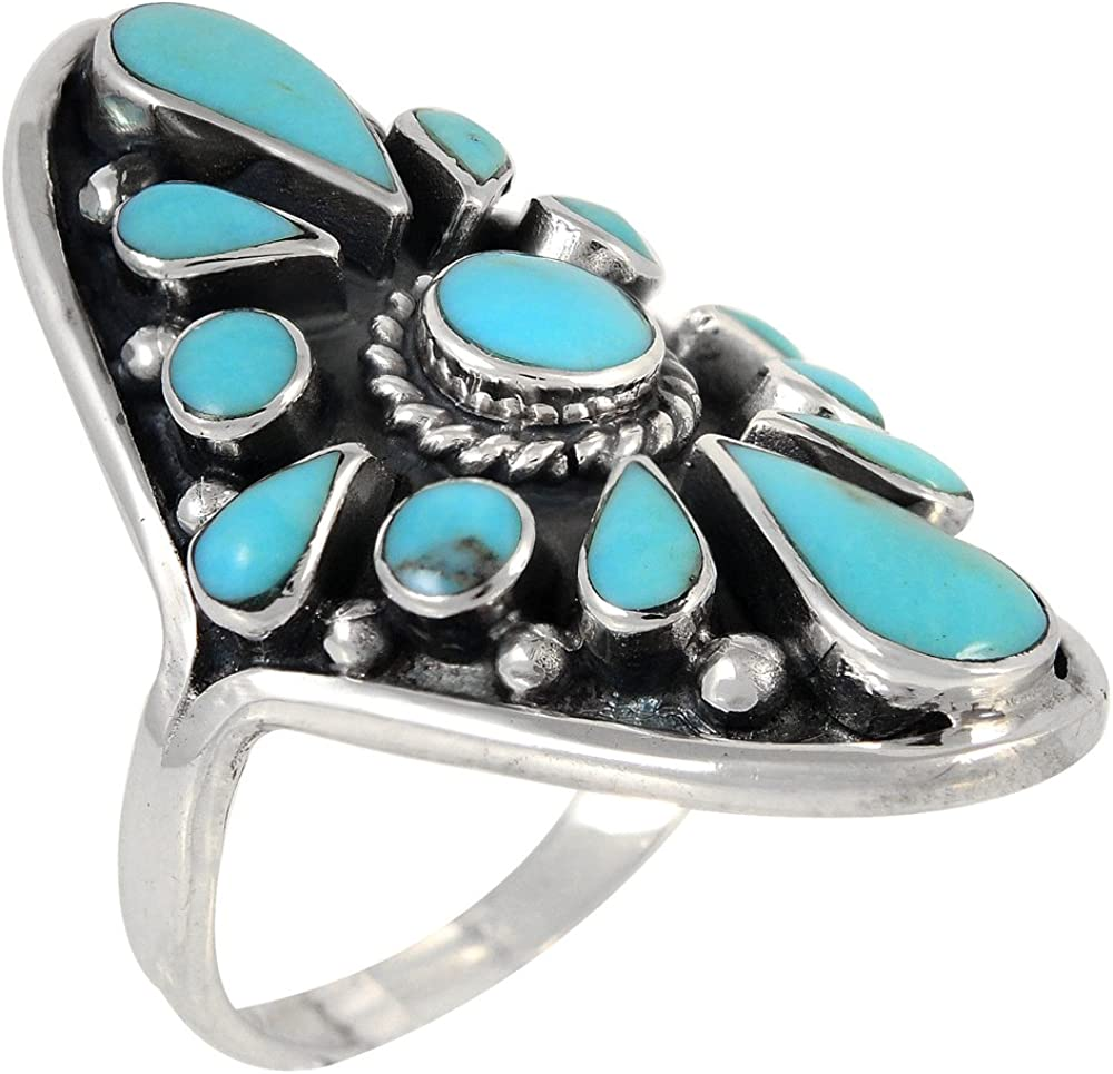 Turquoise Women Jewelry 925 Sterling Silver Ring Size N 1//2 Vq11364