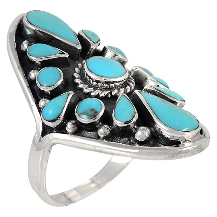 sterling gem loading blue kingman copper ring zoom for home rings stone girls silver turquoise