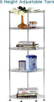 Lifewit 5 Tiers Adjustable Metal Shelving Unit Corner Rack