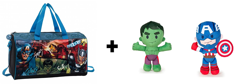 Los Vengadores (The Avengers) - Pack Bolsa de viaje 42cm + Peluche Hulk y Capitan America 21cm Calidad soft: Amazon.es: Juguetes y juegos
