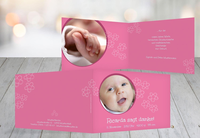 Kartenparadies Danksagung für Geburt Baby Dankeskarte Blüten, hochwertige Danksagungskarte Baby inklusive Umschläge   100 Karten - (Format  148x105 mm) Farbe  Hellbraun B01N9XC2BS | Neuartiges Design  | Schönes Design  | Berühmter Laden