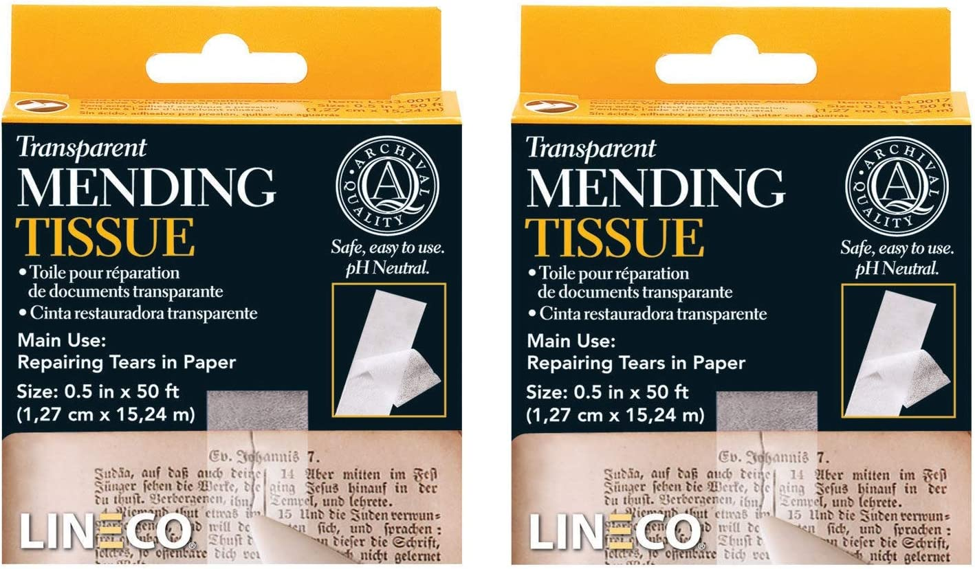 "Lineco Transparent Mending Tissue 1//2/""x50/' Free Ship New Set of 2"