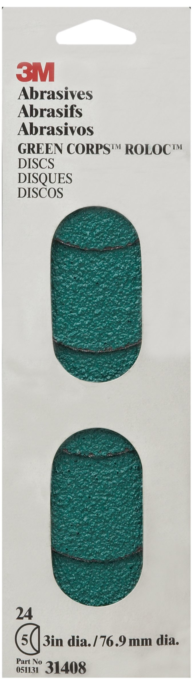 3M 31408 Green Corps Roloc 3'' 24 Grit Disc (Pack of 10)