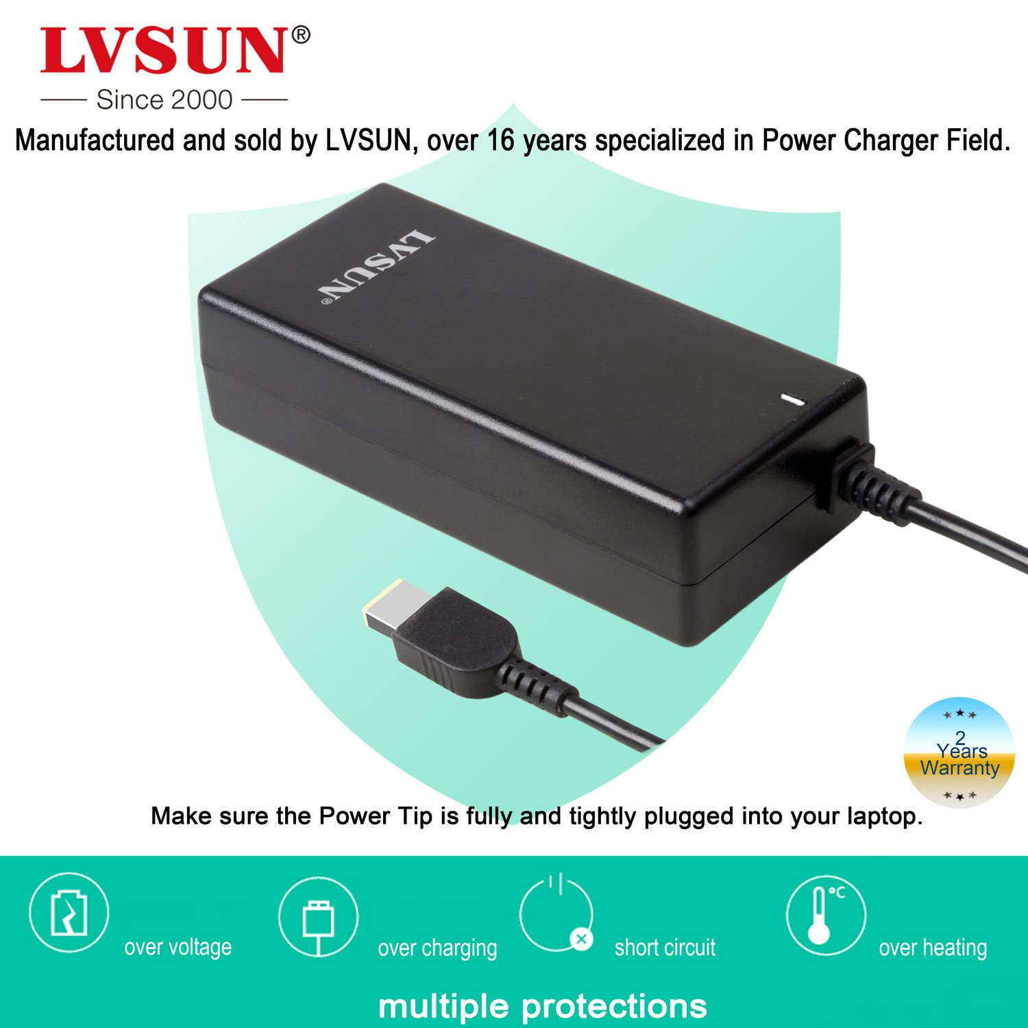 Lvsun Laptop Charger For Lenovo Rectangle Dc Head Laptops Power Cords Of 65w Hp Dell With Shortcircuit Output 20v 325a Durable Ac Adapter Supply Cord 100 Compatible Oem