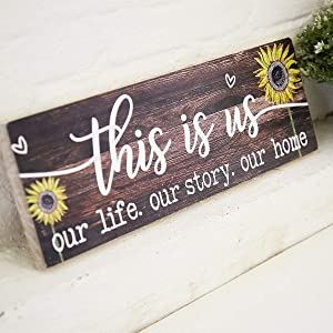 "AAZZKANG This is Us Wood Sign Printed Sunflower Decorative Wall Signs Rustic Farmhouse Home Decor Plaque for Living Room Bedroom 6x18"" Brown"