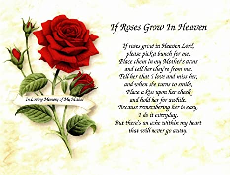 """Amazon.com - In Memory of Mother """"If Roses Grow in Heaven ..."""