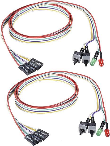 warmstor 2-Pack de ordenador LED luz rojo verde fuente de ...