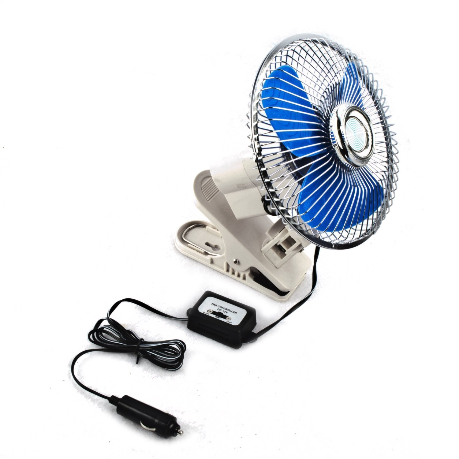 ALEKO CFD01 Mini Clip On Dashboard Electric Car Fan for Summer Road Trips 6 Inch Blades 12V Aluminum