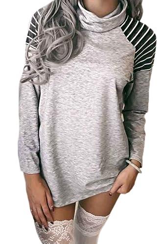 La Mujer De Rayas Patchwork Tunica Blusa Camisa De Cuello Con Palangre Montones
