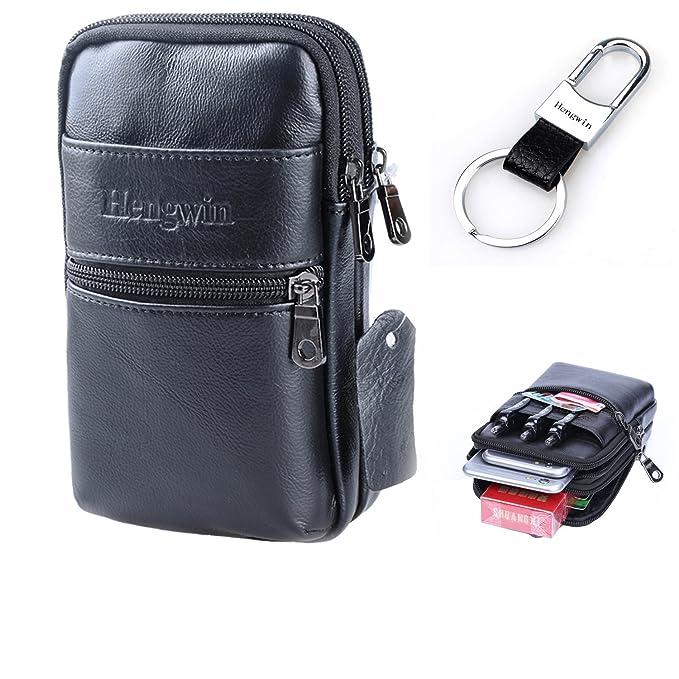 24a978a406f0 Hengwin Belt Clip iPhone XR Pouch Holster Leather Men Bag Belt Loop  Cellphone Holster Case Travel Crossbody Shoulder Bag iPhone XS Max Waist  Bag Fanny ...