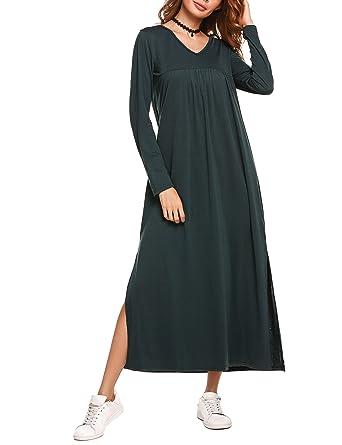 4c81554df7a Beyove Women Casual Long Sleeve Plain Button up Henley Maxi Dress at ...