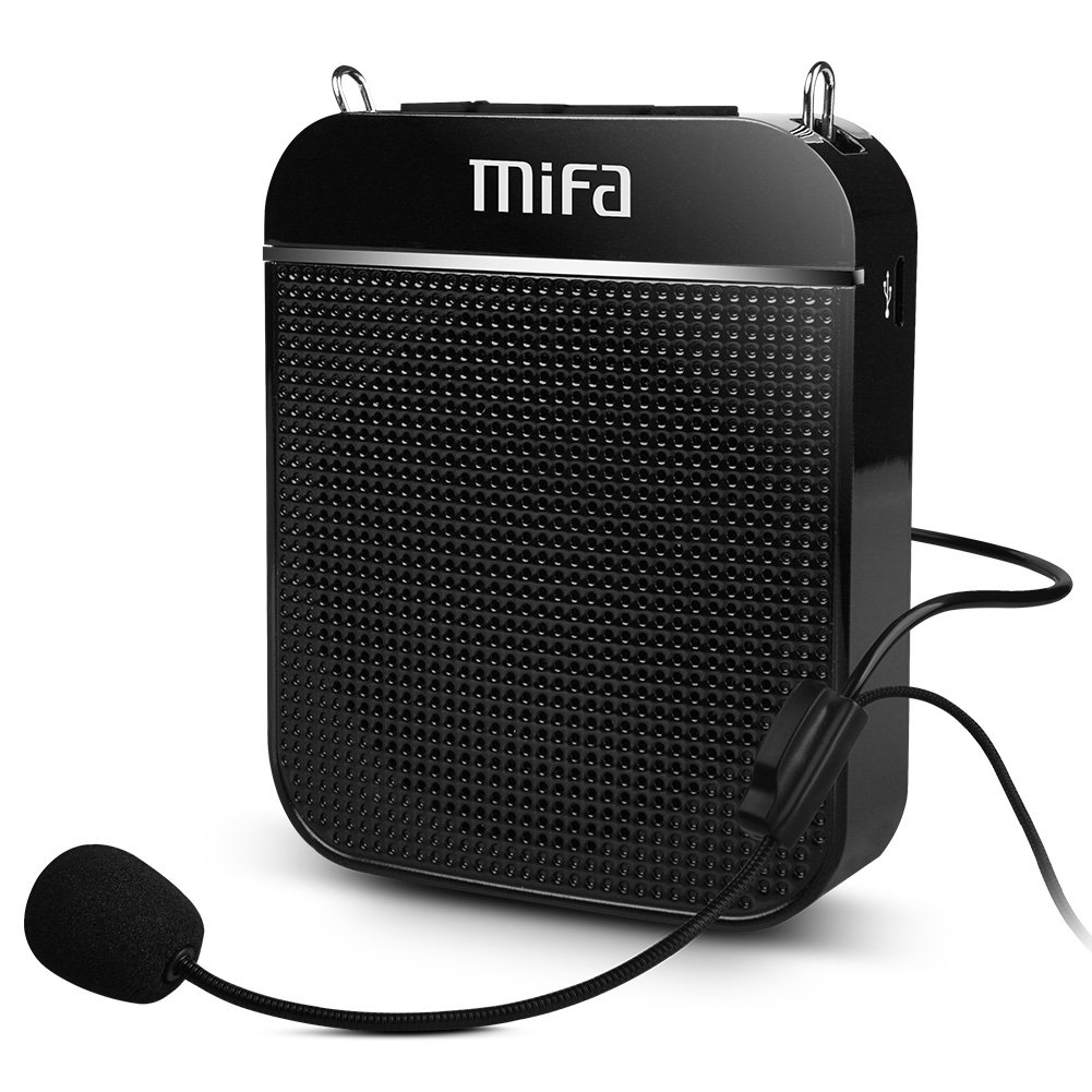Portable Voice Amplifier, MIFA K8 Ultralight Rechargeable PA System Speaker Wired Headset Microphone & Waistband, Supports TF Card MP3 Audio 10W for Teachers Tour Guides Coaches Training Presentations