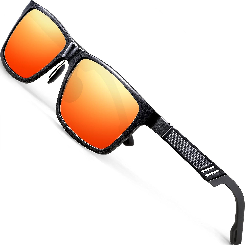 ATTCL Hombre polarizado Wayfarer gafas de sol Al Mg marco de Metal