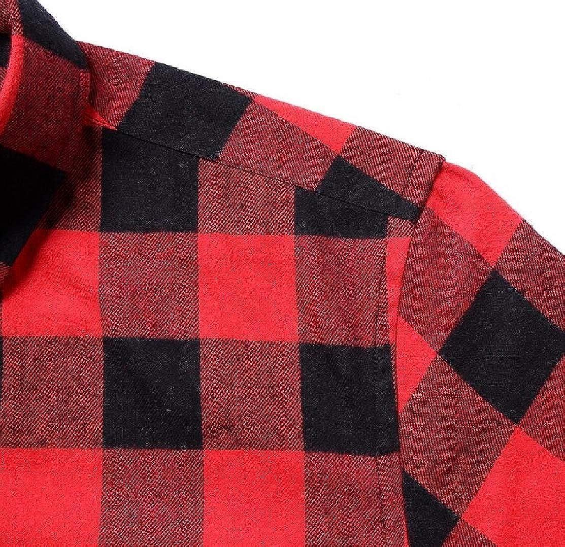 GLORYA Men Checkered Plaid Cotton Flannel Slim Fit Long Sleeve Shirt