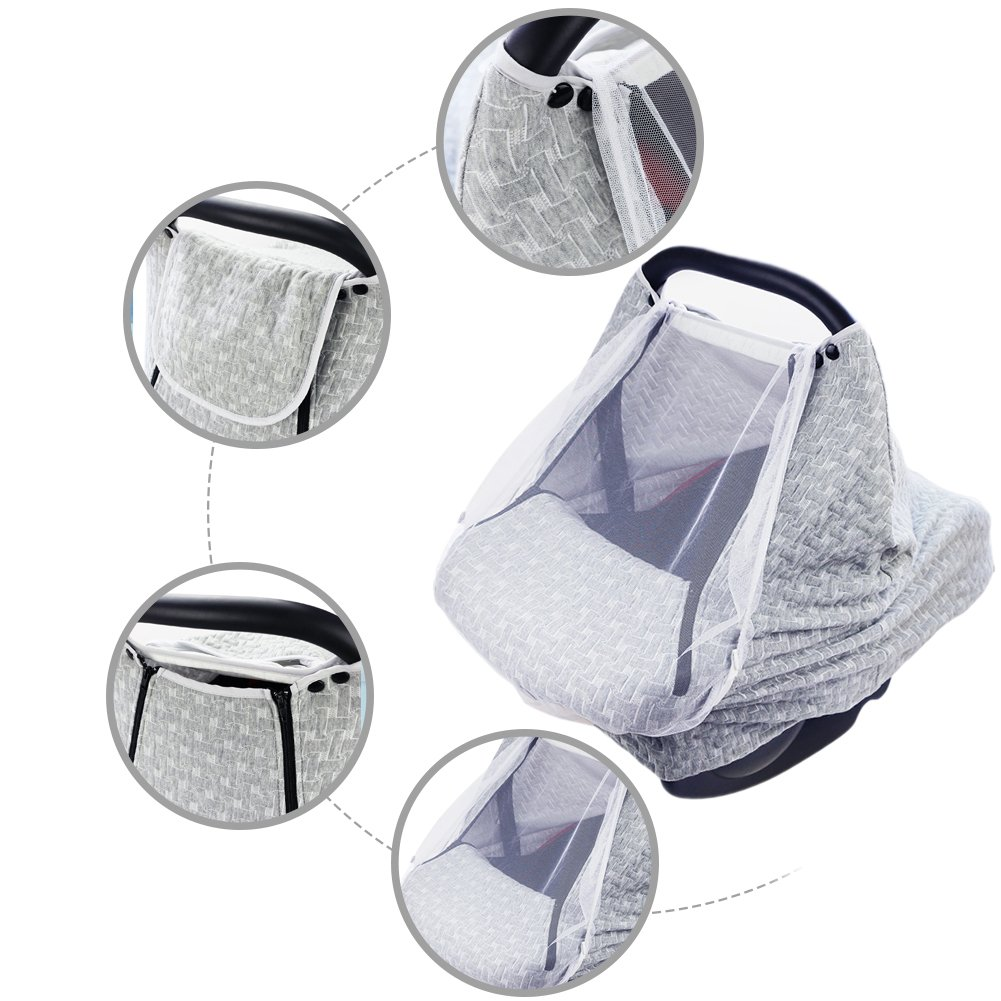 PROKTH Baby Stroller Gray Air Layer Mosquito Net, Sun Protection Sunshade Heat Insulation Cooling Polyester Cotton Cover Towel Sunshield by PROKTH (Image #2)