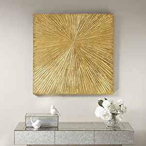 MADISON PARK SIGNATURE Sunburst Wall Art-Modern Resin Dimensional Radiant Color Home Décor Abstract Metallic Textured on Palm Deco Box, See Below, Gold