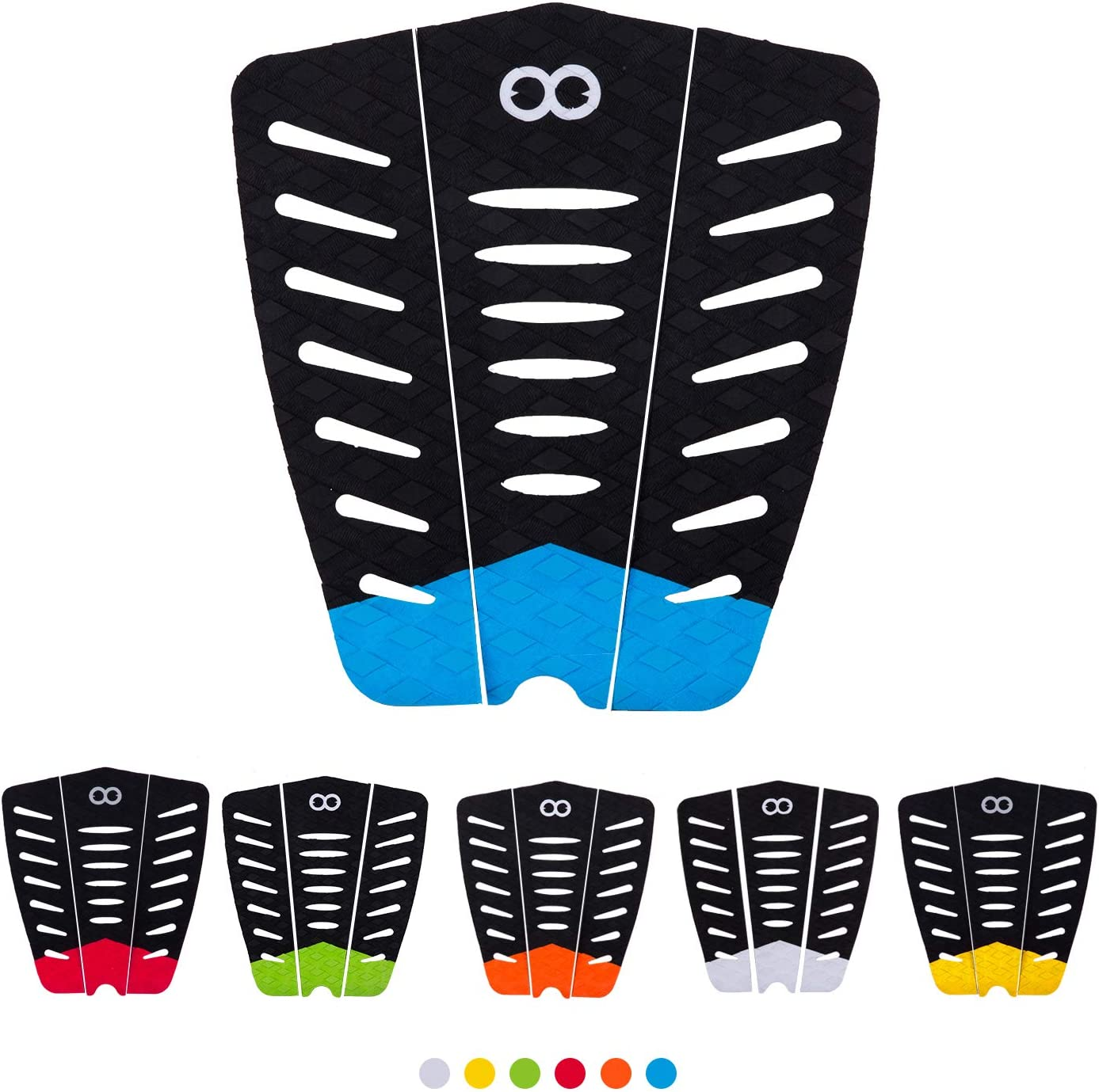 Surfboard Traction Tail Pads EVA Anti-Slip Surfboard Traction Pad with Tail Block Surf Deck Grips for Surfboards Longboards Skimboards Surfing Sports Blue 3pcs