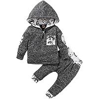 Borlai Conjunto de chándal con capucha de camuflaje para bebés y niños, sudadera con capucha, pantalones superiores con…