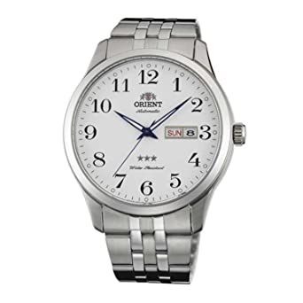 Orient Mens 43mm Steel Bracelet & Case Automatic White Dial Analog Watch FAB0B002W9