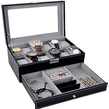 Amazoncom Watch Box Black Leather Watch Display Box 12 Slot Watch