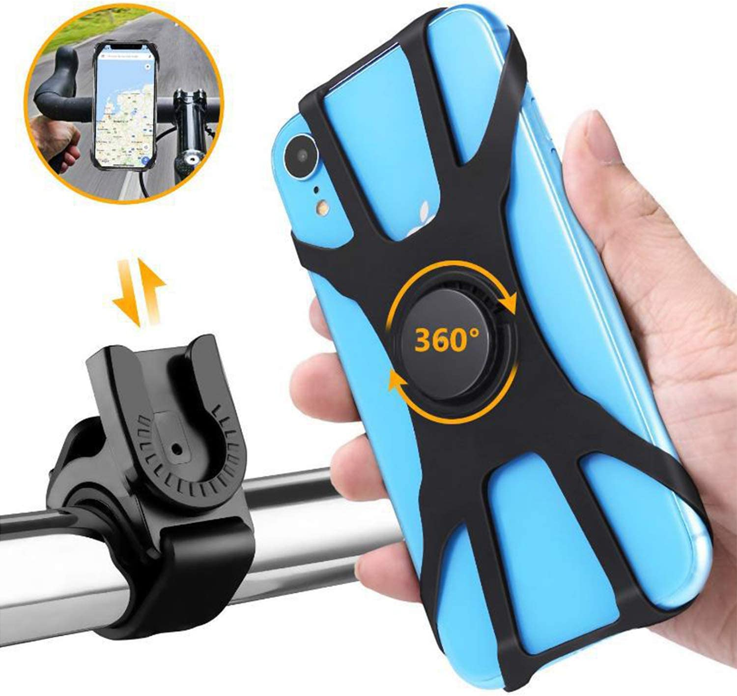 . Bike /& Motorcycle Phone Mount Samsung or Any Smartphone 360/° Rotatable Bicycle /& Motorcycle Handlebar Cell Phone Holder Universal fit for iPhone Other 4.5-7.5 Phones