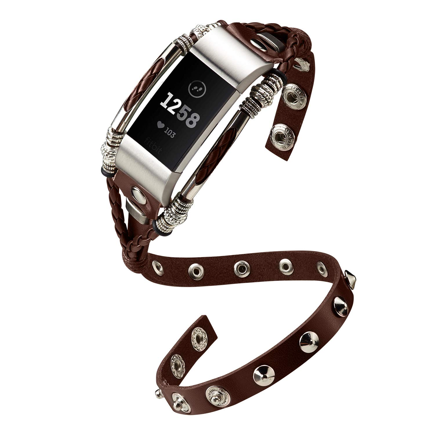 🎁 Marval P Compatible🎁 for Fitbit Charge 2 Bands, Double Tour Handmade  Leather Charge 2 HR Band, Replacement Unique Bracelet Strap, Wristbands