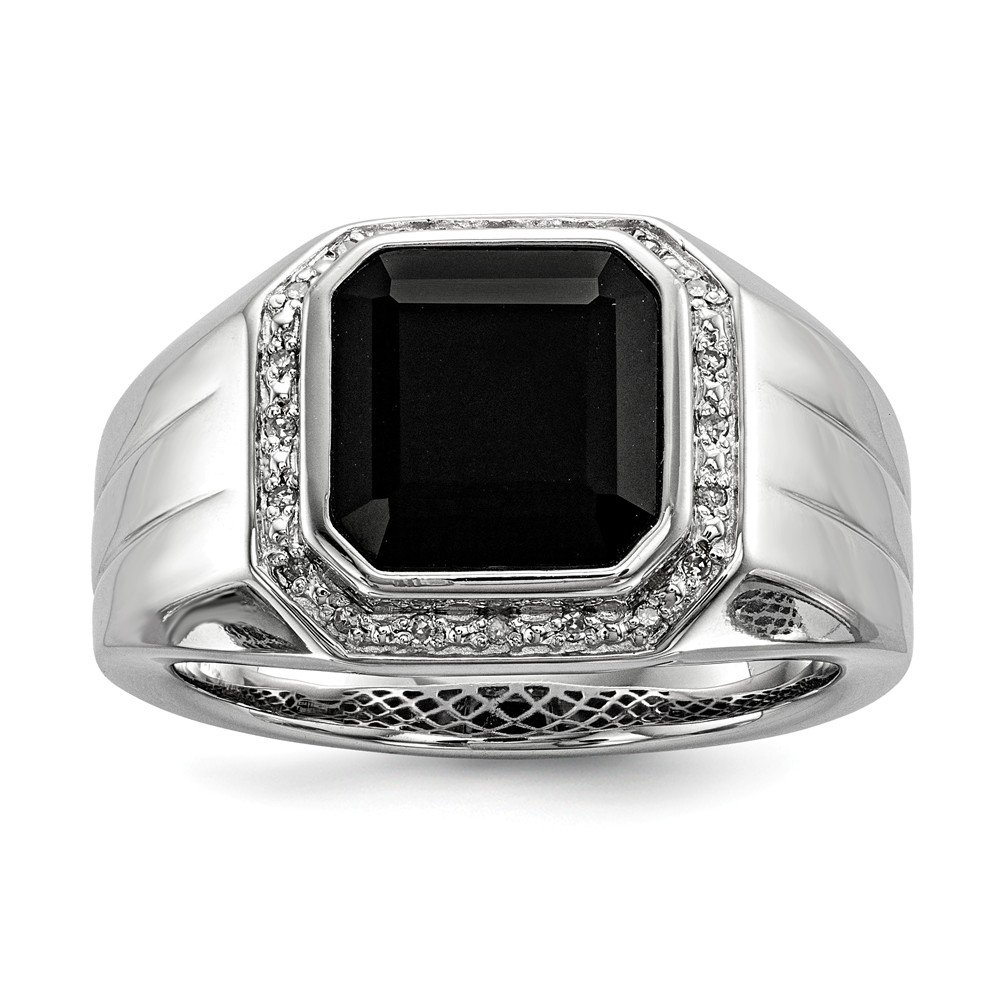 Size 11 Solid 925 Sterling Silver Diamond & Black Simulated Onyx Square Men's Ring