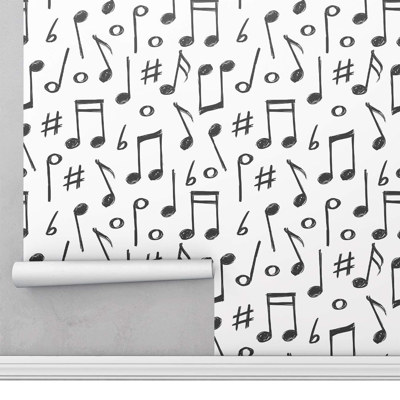 Material Vinilo Impermeable Oficina y Tienda Cocina Papel Pintado de Vinilo Autoadhesivo 45cm*5m para Pared del Hogar Duradero y Removible Nota musical