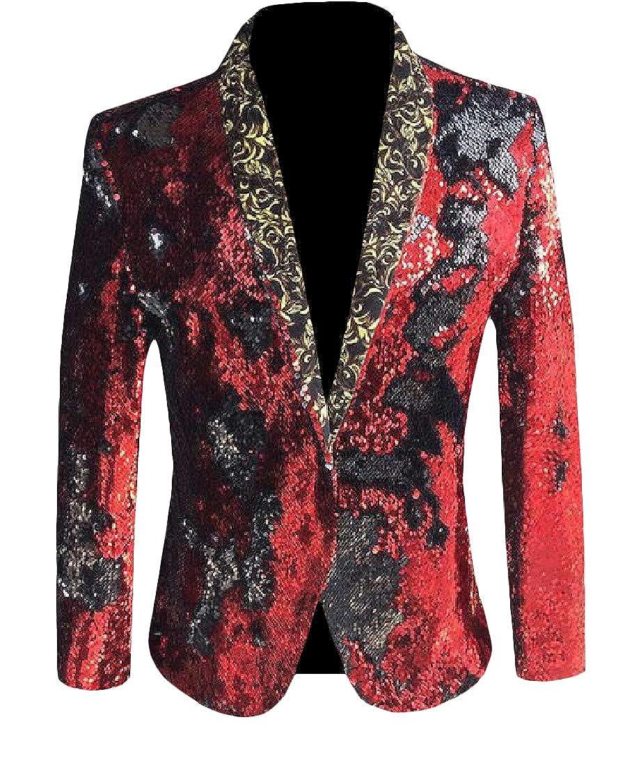 Hajotrawa Men's Moderator Nightclub Sparkly Coat Sport Sequins Blazer Jackets
