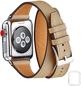 Bestig Band Compatible for Apple Watch 38mm 40mm 42mm 44mm, Genuine Leather Double Tour Designed Slim Replacement iwatch Strap for iWatch Series 6 SE 5 4 3 2 1 (Camel+Silver, 38mm 40mm)