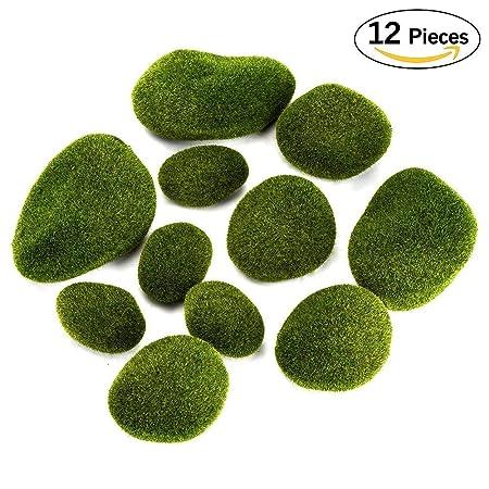 Aipaide 40 Pcs Green Moss Balls Assorted Sizes Moss Covered Rocks Best Decorative Moss Balls Uk