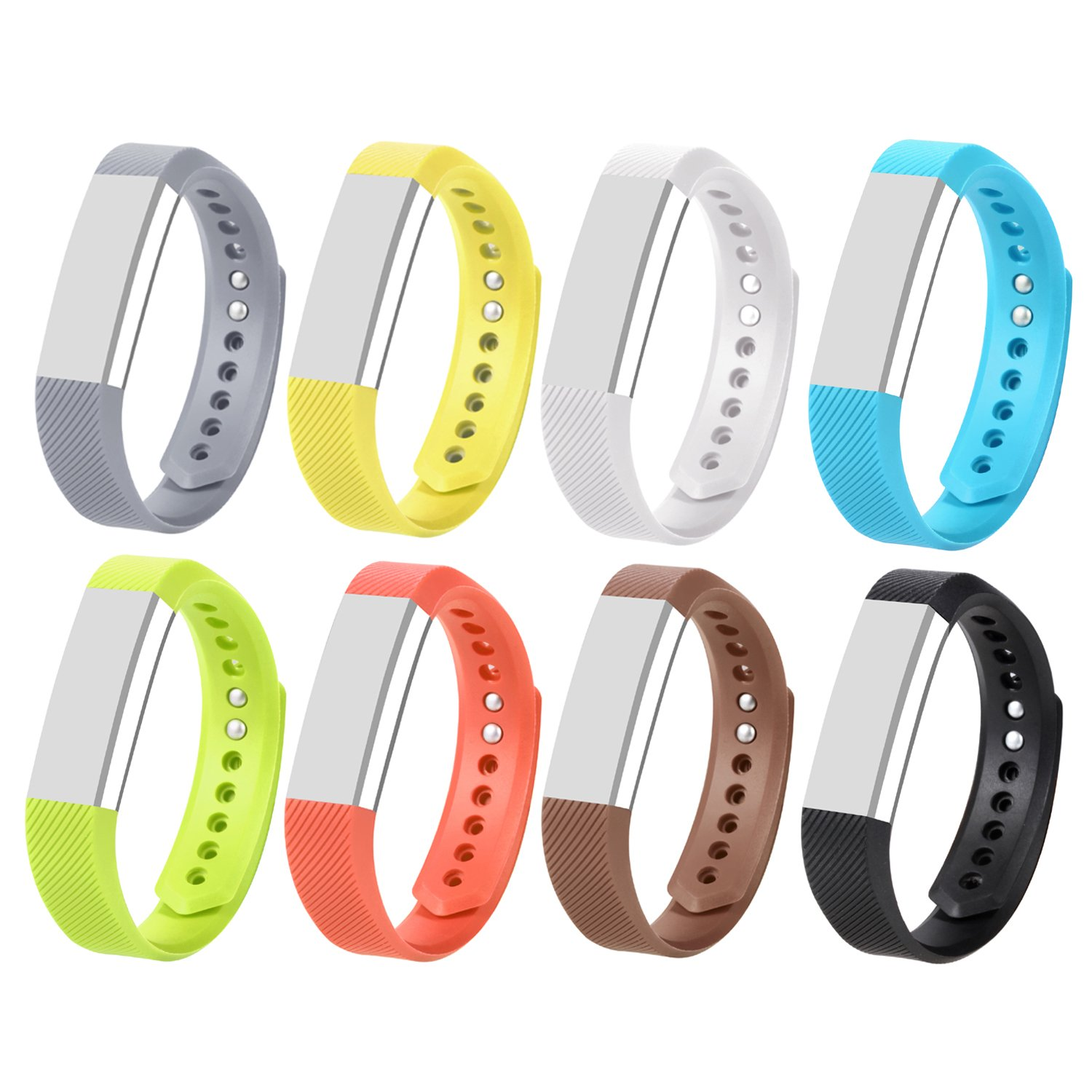 Correa de repuesto con cierres de seguridad de mtsugar, para Fitbit Alta y Fitbit Alta HR (no incluye el monitor, solo las correas de repuesto) , Pack of 8, Large Pack of 8, Large