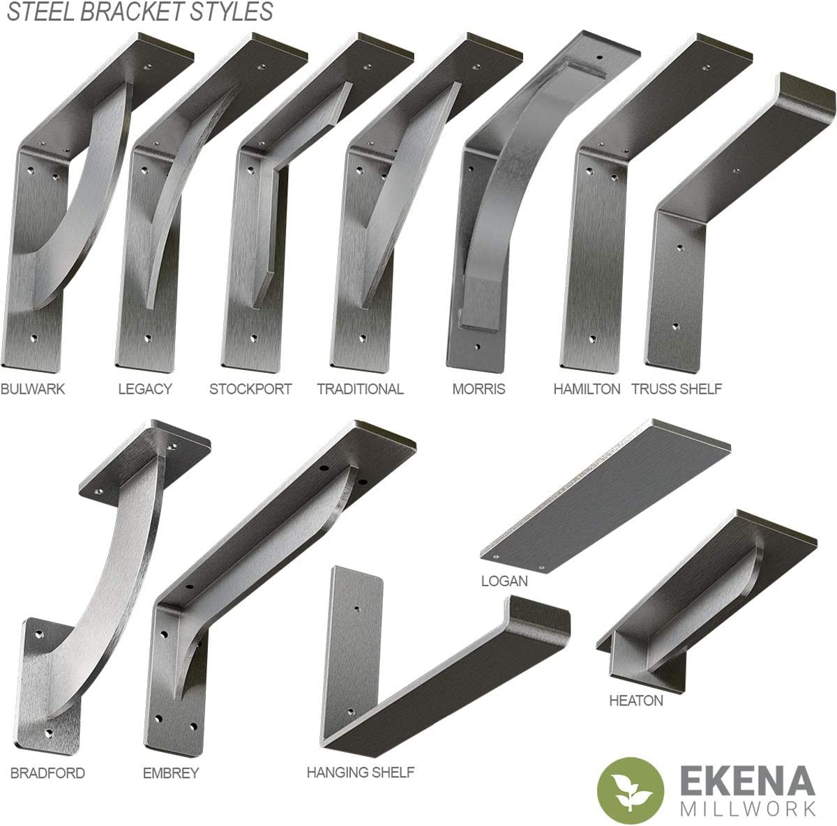 Hammered Brown Ekena Millwork BKTM02X07X07BRHBR 2 inch W x 7 inch D x 7 inch H Bradford steel Bracket