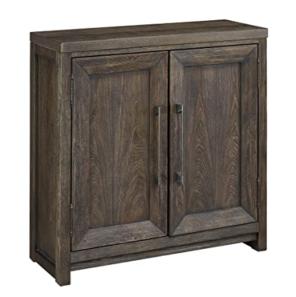 Ashley Furniture Signature Design   Reickwine 2 Door Accent Cabinet    Distressed Grayish Brown Finish