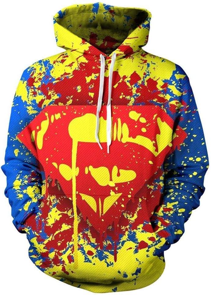 WGS Superhéroe Superman Impreso en 3D Suéter Cosplay Sudadera Deportiva Unisex Sudadera con Capucha Fresca, XXXXL