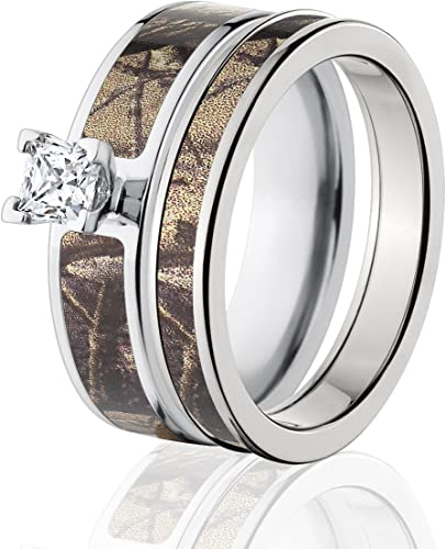 Amazon Com Realtree Camo Bridal Set Camo Wedding Rings Ap Camo