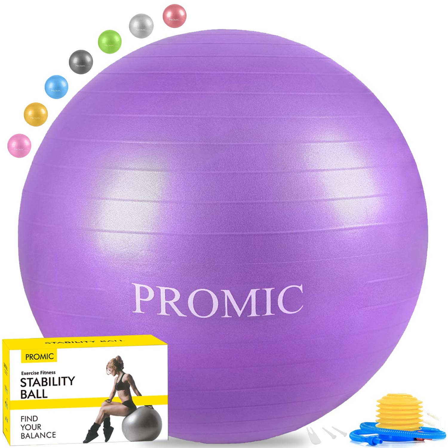 PROMIC Exercise Ball (75 cm) with Foot Pump, Professional Grade Anti Burst & Slip Resistant Stability Balance Yoga Ball for Yoga, Workout, Cardio Drumming, Classroom, Work Ball Chair (Purple) by PROMIC